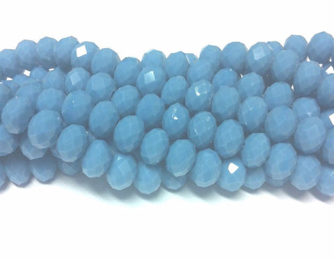 Chinese Crystal Glass Beads Faceted Rondelle Shape 8mm X 6mm Color Denim Blue - www.kraftsandbeads.com