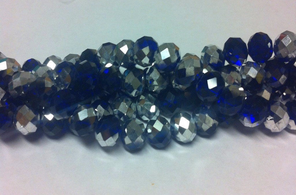 Chinese Crystal Glass Beads Faceted Rondelle Shape 8mm X 6mm Color Half Silver and Half Blue - www.kraftsandbeads.com