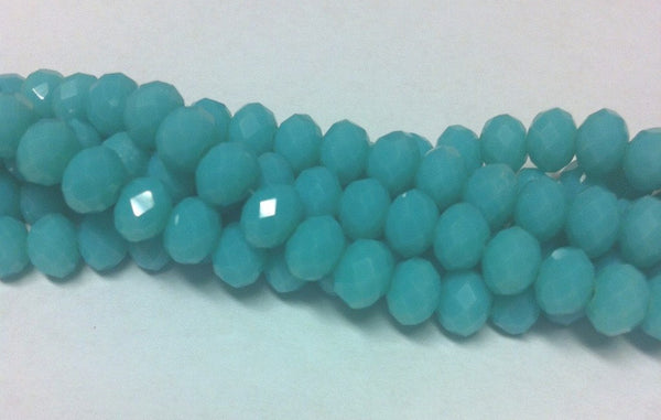 Chinese Crystal Glass Beads Faceted Rondelle Shape 6mm X 4mm Color Jade Green - www.kraftsandbeads.com