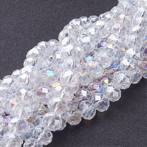 Chinese Crystal Glass Beads Faceted Rondelle Shape, Color Crystal AB