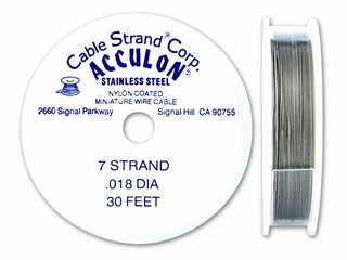 Acculon Tigertail Nylon Coated Stainless Steel 7 Strand Beading Wire - www.kraftsandbeads.com