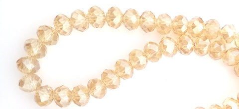 Chinese Crystal Glass Beads Faceted Rondelle Shape 8mm X 6mm Color Champagne