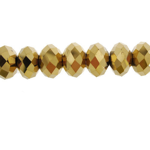 Chinese Crystal Glass Beads Faceted Rondelle Shape 8mm X 6mm Color Gold Metallic - www.kraftsandbeads.com