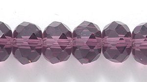 Chinese Crystal Glass Beads Faceted Rondelle Shape 8mm X 6mm Color Amethyst - www.kraftsandbeads.com