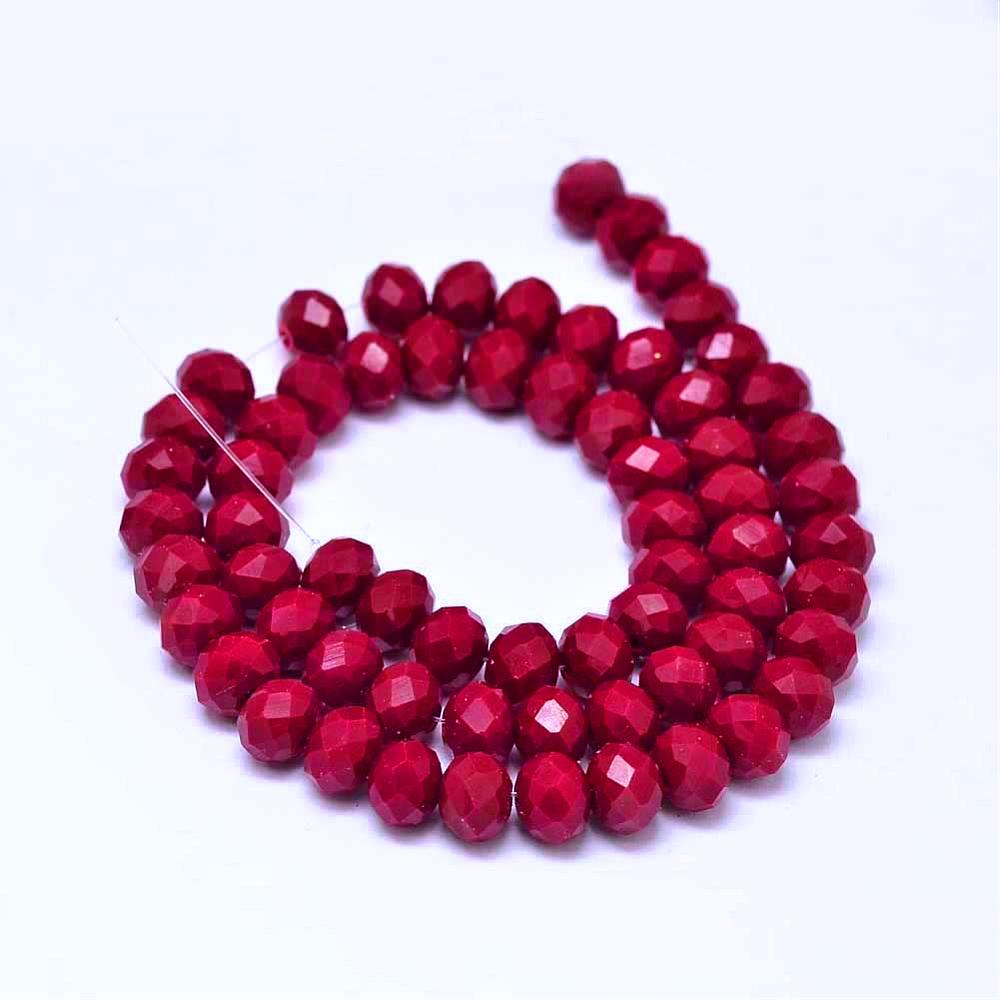 Chinese Crystal Glass Beads Faceted Rondelle Shape 8mm X 6mm Jade Dark Red