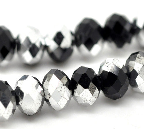 Chinese Crystal Glass Beads Faceted Rondelle Shape 8mm X 6mm Color Black and Silver - www.kraftsandbeads.com