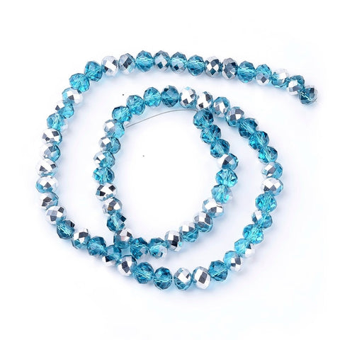Chinese Crystal Glass Beads Faceted Rondelle Shape 8mm X 6mm Blue & Silver