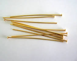 "Gold Plated Head Pins 2"" (20 Pieces) - www.kraftsandbeads.com"