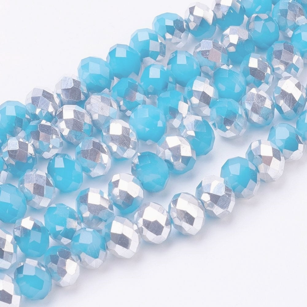 Chinese Crystal Glass Beads Faceted Rondelle Shape 8mm X 6mm Jade Blue & Silver