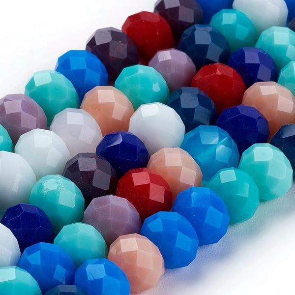 Chinese Crystal Beads Rondelle Shape 8mm X 6mm Jade Multi-Colors
