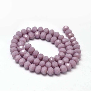 Chinese Crystal Glass Beads Faceted Rondelle Shape 8mm X 6mm Jade Plum