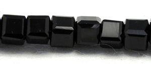 Chinese Crystal Glass Beads, Square Shape 8mm X 8mm, Color Black