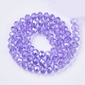 Chinese Crystal Beads Rondelle Shape 8mm X 6mm Color Lilac 70 Beads