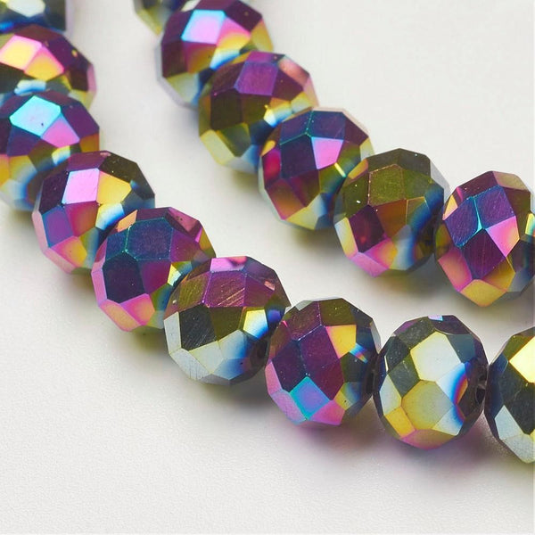 Chinese Crystal Beads Rondelle Shape 8mm X 6mm Metallic Multi-Colored