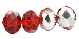 Chinese Crystal Glass Beads Faceted Rondelle Shape 8mm X 6mm Color Half Red/Half Silver Plated - www.kraftsandbeads.com