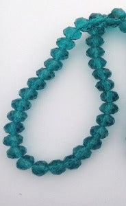 Chinese Crystal Glass Beads Faceted Rondelle Shape 8mm X 6mm Color Teal
