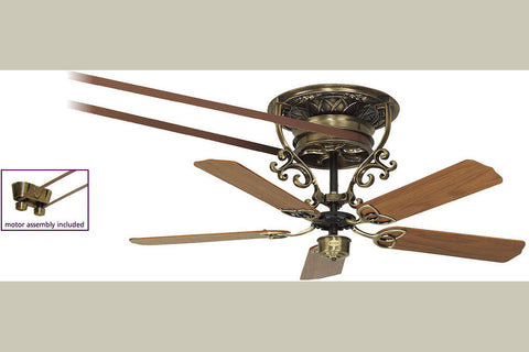 "Fanimation 1-FP580AB-FP510AB-FP1013 56"" Bourbon Street Short Ceiling Fan in Antique Brass"