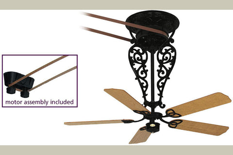 "Fanimation 1-FP580BL-FP520BL-FP1013 56"" Bourbon Street Long Ceiling Fan in Black"