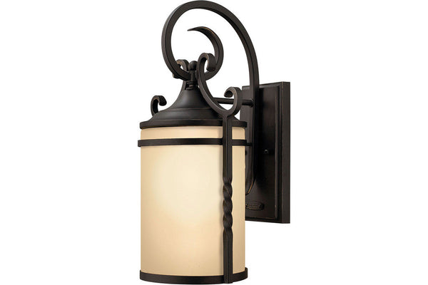 Hinkley 1140OL Casa Outdoor Wall Sconce Lighting in Olde Black with Light Amber Etched Glass