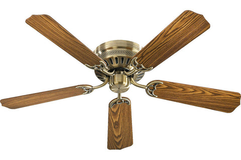 "Quorum 11525-4 52"" Custom Hugger in Antique Brass with Reversible Dark Oak and Medium Oak Blades Indoor Rated Ceiling Fan"