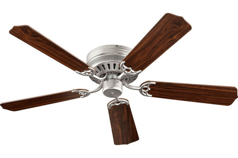 "Quorum 11525-65 52"" Custom Hugger in Satin Nickel with Reversible Satin Nickel and Walnut Blades Indoor Rated Ceiling Fan"