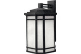 Hinkley 1275VK Cherry Creek Cast Aluminum Outdoor Wall Sconce Lighting in Vintage Black with White Linen Seedy Glass