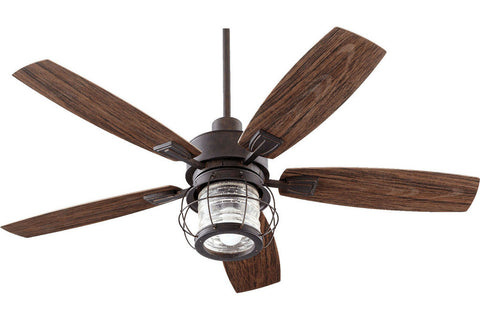 "Quorum 13525-44 52"" Galveston in Toasted Sienna with Walnut Blades Wet Rated Outdoor Ceiling Fan"