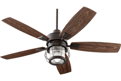 "Quorum 13525-86 52"" Galveston in Oiled Bronze with Walnut Blades Wet Rated Outdoor Ceiling Fan"