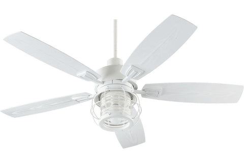 "Quorum 13525-8 52"" Galveston in Studio White with White Blades Wet Rated Outdoor Ceiling Fan"
