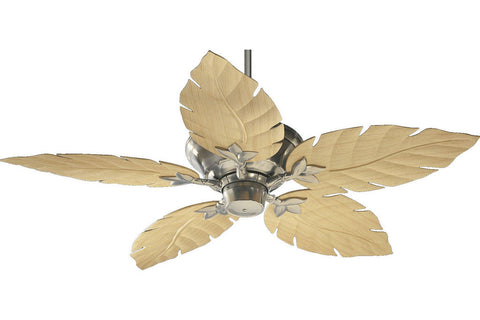 "Quorum 135525-65 52"" Monaco Patio in Satin Nickel with Maple Blades Wet Rated Outdoor Ceiling Fan"