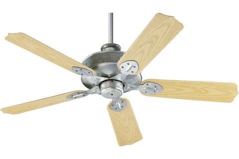 "Quorum 137525-9 52"" Hudson Patio in Galvanized with Medium Oak Blades Wet Rated Outdoor Ceiling Fan"