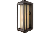 Hinkley 1390BZ Castelle Outdoor Wall Sconce Lighting in Bronze with Amber Etched Ribbed Cylinder Glass