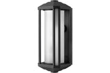 Hinkley 1395BK Castelle Outdoor Wall Sconce Lighting in Black with Frosted Etched Ribbed Cylinder Glass