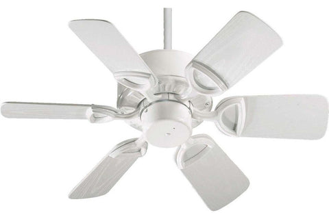 "Quorum 143306-6 30"" Estate in White with White Blades Wet Rated Outdoor Ceiling Fan"