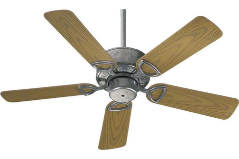 "Quorum 143425-9 42"" Estate in Galvanized with Medium Oak Blades Wet Rated Outdoor Ceiling Fan"