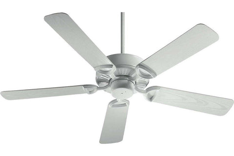 "Quorum 143525-6 52"" Estate in White with White Blades Wet Rated Outdoor Ceiling Fan"