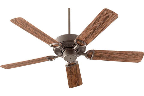 "Quorum 143525-86 52"" Estate in Oiled Bronze with Walnut Blades Wet Rated Outdoor Ceiling Fan"