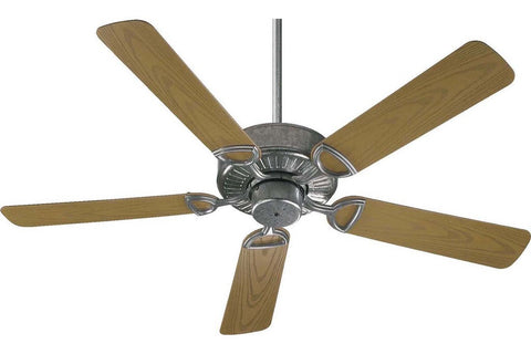 "Quorum 143525-9 52"" Estate in Galvanized with Medium Oak Blades Wet Rated Outdoor Ceiling Fan"
