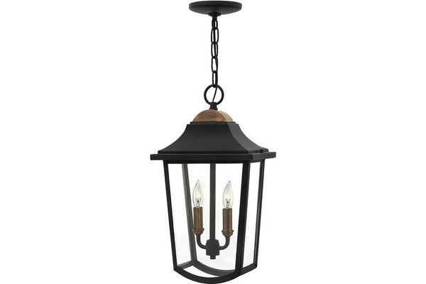 Hinkley 1972BK Burton Outdoor Ceiling Lighting in Black with Clear Beveled Glass Panel