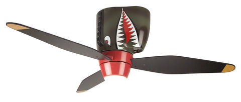 "Craftmade WarPlanes WB348TS3 48"" Ceiling Fan with Blades Included in Tiger Shark"
