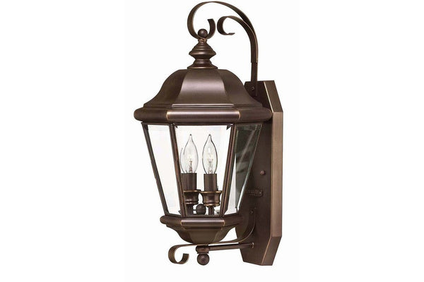 Hinkley 2425CB Clifton Park Outdoor Wall Sconce Lighting in Copper Bronze with Clear Beveled and Bound Glass
