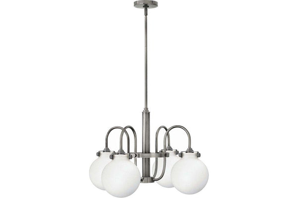 Hinkley 3043AN Congress Glass 1 Tier Chandelier Lighting in Antique Nickel with Etched Opal Glass