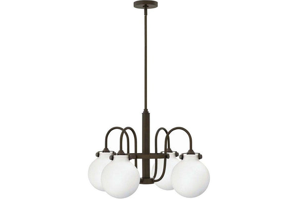 Hinkley 3043OZ Congress Glass 1 Tier Chandelier Lighting in Oil Rubbed Bronze with Etched Opal Glass