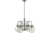 Hinkley 3044AN Congress Glass 1 Tier Chandelier Lighting in Antique Nickel with Hand Blown Clear Glass