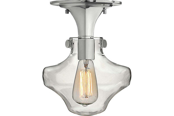 Hinkley 3150CM Congress Round Glass Semi Flush Ceiling Lighting in Chrome with Hand Blown Clear Glass