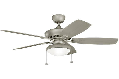 "Kichler 320500ANS-371010-380910ANS 52"" Canfield Climates Ceiling Fan in Antique Satin Silver"