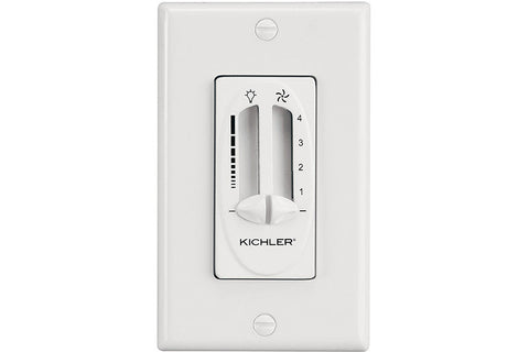 Kichler 337010WH Fan 4 Speed Light Dimmer in White