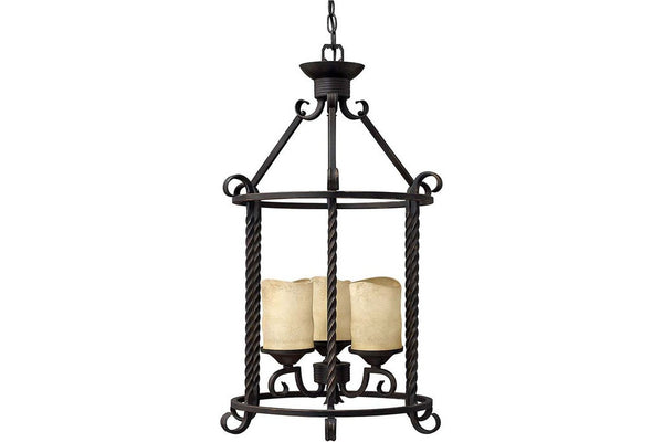 Hinkley 3504OL Casa Large Lantern Pendant in Olde Black with Rustic Scavo Glass