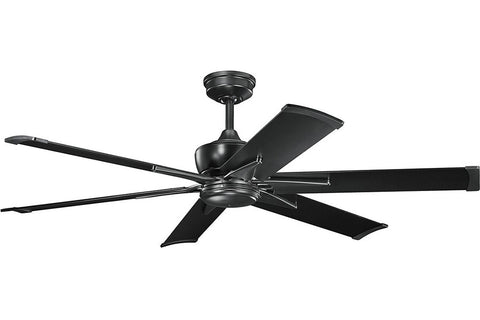 "Kichler 370060SBK-371239SBK 60"" Szeplo Ceiling Fan in Satin Black"