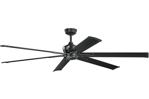 "Kichler 370060SBK-371240SBK 80"" Szeplo Ceiling Fan in Satin Black"